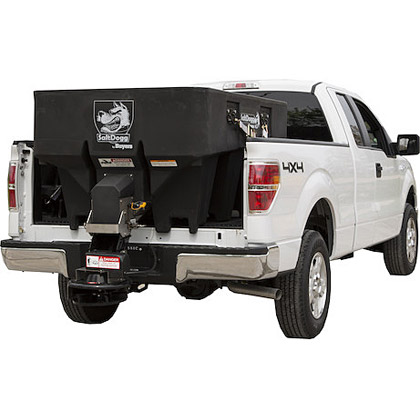 "Picture of Buyers SaltDogg 68"" 1.00 Cubic Yard Electric Black Polymer Hopper Salt Spreader (Standard Chute)"