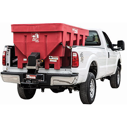 "Picture of Buyers SaltDogg 87.3"" 1.45 Cubic Yard Electric Red Polymer Hopper Salt Spreader (Standard Chute)"