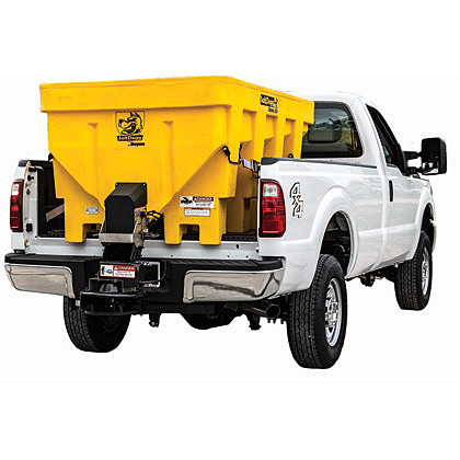 "Picture of Buyers SaltDogg 87.3"" 1.45 Cubic Yard Electric Yellow Polymer Hopper Salt Spreader (Standard Chute)"