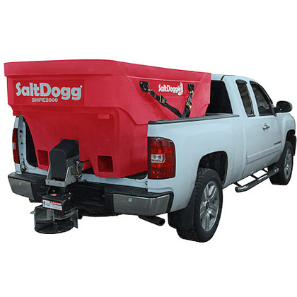 "Picture of Buyers SaltDogg 96"" 2.0 Cubic Yard Electric Red Polymer Hopper Salt Spreader (Standard Chute)"