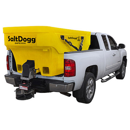 "Picture of Buyers SaltDogg 96"" 2.0 Cubic Yard Electric Yellow Polymer Hopper Salt Spreader (Standard Chute)"