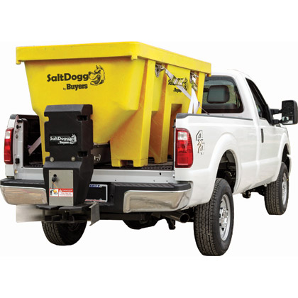 Picture of Buyers SaltDogg 2.20 Cubic Yard Electric Yellow Polymer Hopper Salt Spreader