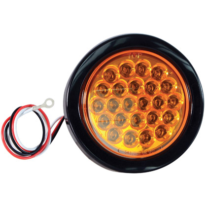 "Picture of 4"" 24 LED Amber Round Strobe Warning Light - Recessed - Six Flash"