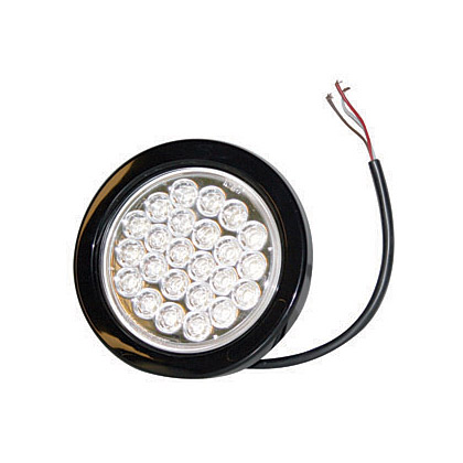 "Picture of 4"" 24 LED Clear Round Strobe Warning Light - Recessed - Six Flash"
