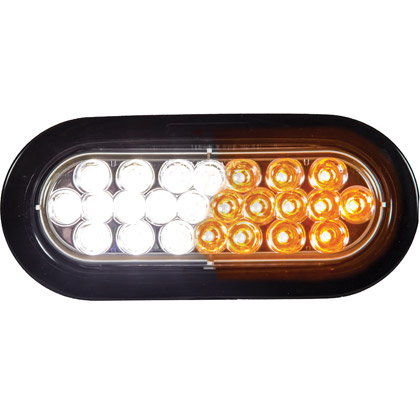 "Picture of 6-1/2"" 12-Clear, 12-Amber LED Oval Strobe Warning Light - Recessed"