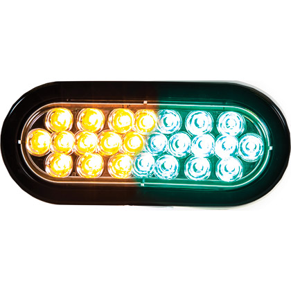 "Picture of 6-1/2"" 12-Amber, 12-Green LED Oval Strobe Warning Light - Recessed"