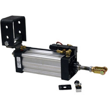 "Picture of 3-1/4"" x 6"" Stroke Hinge Mount Cylinder - Solenoid Assembly - Includes Manual Air Valve"