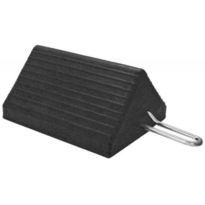 "Picture of Heavy-Duty Rubber Wheel Chock with Handle - 10"" x 8"" x 5"""