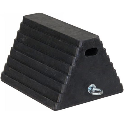 "Picture of Rubber Wheel Chock with Chain Eye - 10"" x 8"" x 6"""