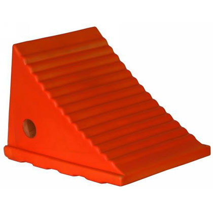 "Picture of Fluorescent Orange Poly Wheel Chock - 8.69"" x 11.25"" x 8.13"""