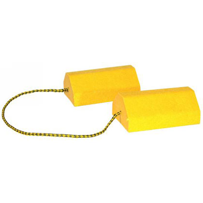 "Picture of Yellow Composite Wheel Chock Set with Rope - 9-1/2"" x 6"" x 4"""