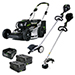 "21"" 82V Commercial Brushless Steel Deck Lawn Mower Bundle - Includes (1) GE-080 Edger, (1) GT-160 String Trimmer, (2) GL-500 5.0Ah Batteries and (1) GC-420 Dual Port Charger Product Image"