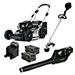 "Picture of 21"" 82V Commercial Brushless Steel Deck Lawn Mower Bundle - Includes (1) GB-500 Blower, (1) GT-160 String Trimmer, (2) GL-500 5.0Ah Batteries and (1) GC-420 Dual Port Charger"