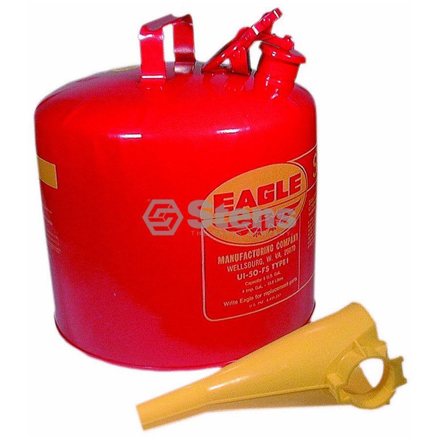 Stens 765188 5 Gallon Metal Safety Gas Can With Funnel