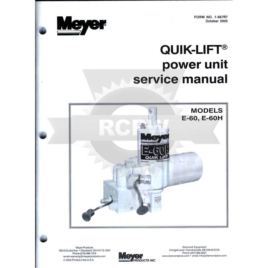 Meyer 03038 Service And Repair Manual For E 60 And E 60h