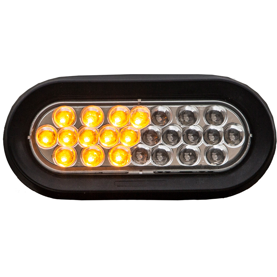 "... Picture 2 of 6-1/2"" Oval Amber/Clear LED Strobe Light ..."