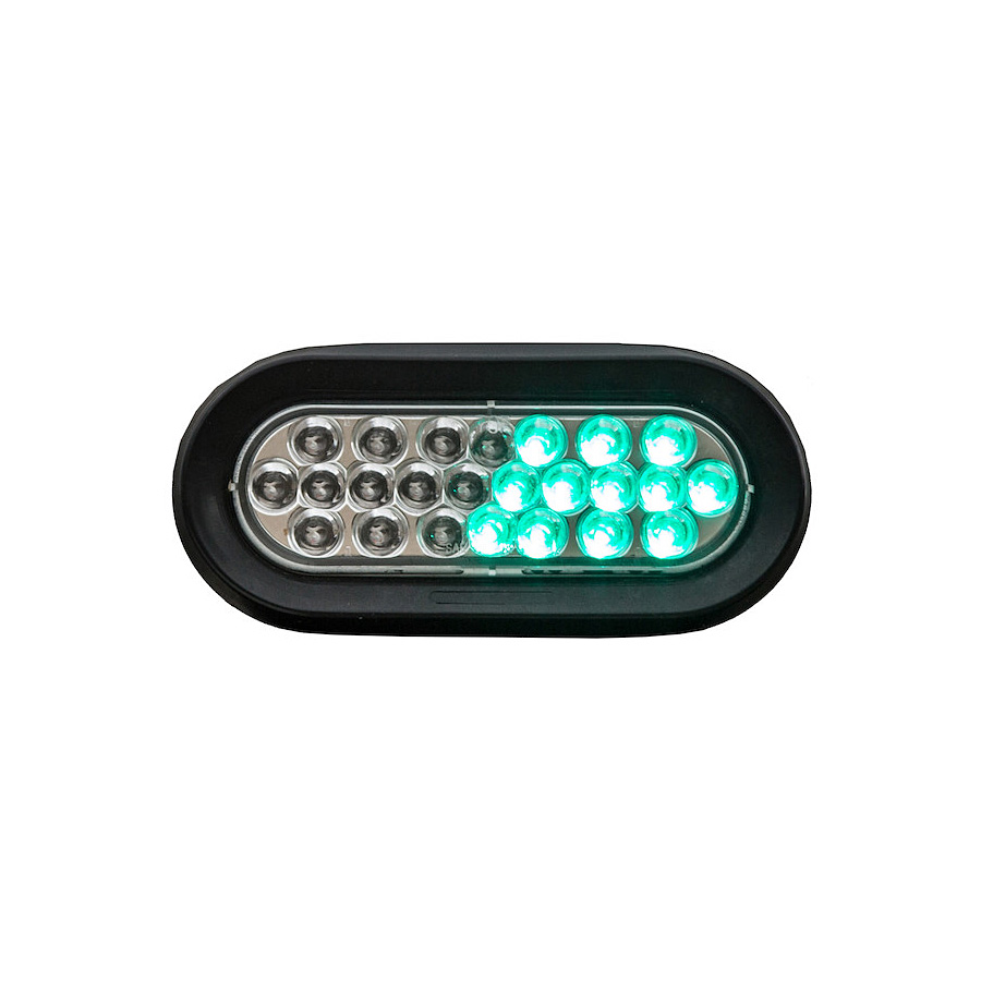 Buyers Sl66cg 6 1 2 Quot 24 Led Clear Green Oval Strobe