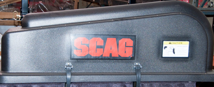 Where to Find the Model and Serial on a Scag Grass Bagger System Main Image