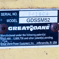 Where to Find the Model and Serial Number on a Great Dane Stand-On Mower Thumbnail