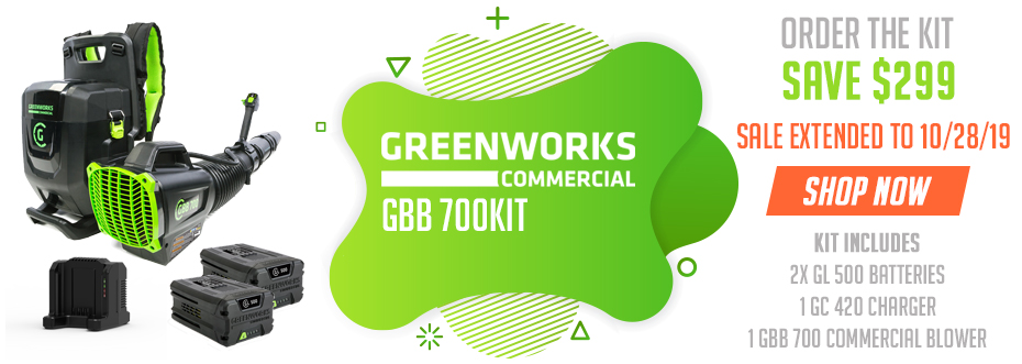 Save BIG on Greenworks GBB 700 when you buy the GBB 700 KIT - Sale Extended to 10/28/19!