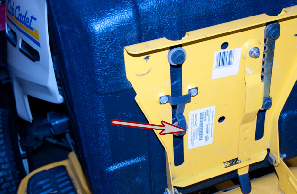 Cub Cadet Series 1000 model and serial number location