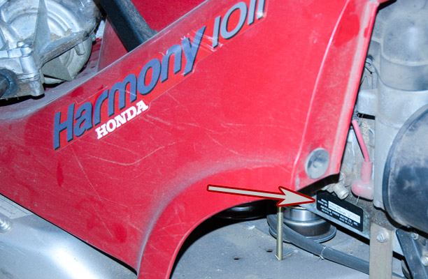finding the model and serial numbers on a honda harmony rider