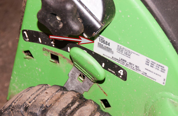 Lawn-Boy Push Mower model and serial number location