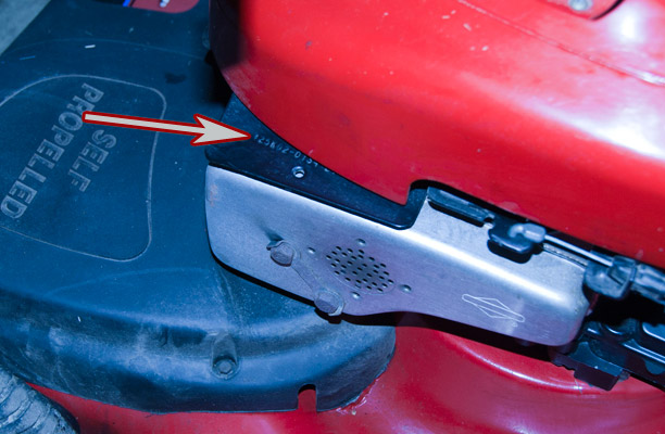 Briggs and Stratton Model, Type and Code Location on a Troy-Bilt Push Mower