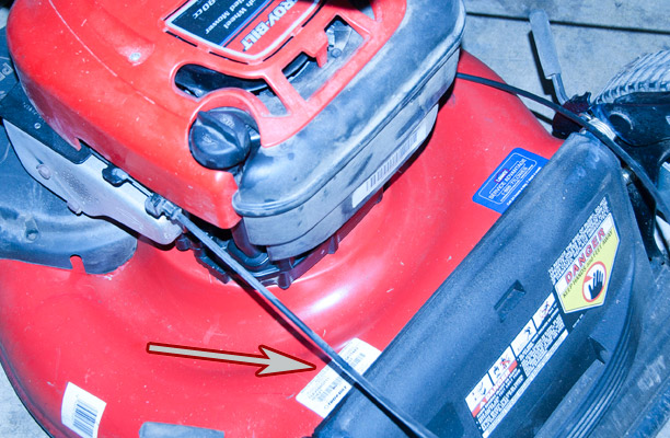 Troy-Bilt Push Mower Model and Serial Number Location