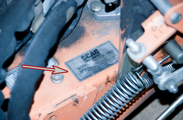 Scag Model and Serial Number Location on an Older 52 in. Walk-Behind Mower
