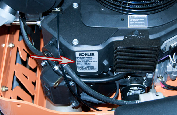 Kohler Engine Model and Serial Number Location on a Scag Turf Tiger