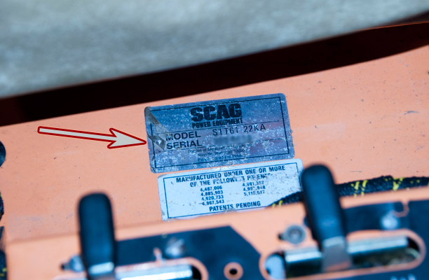 Scag Turf Tiger Model and Serial Number Location