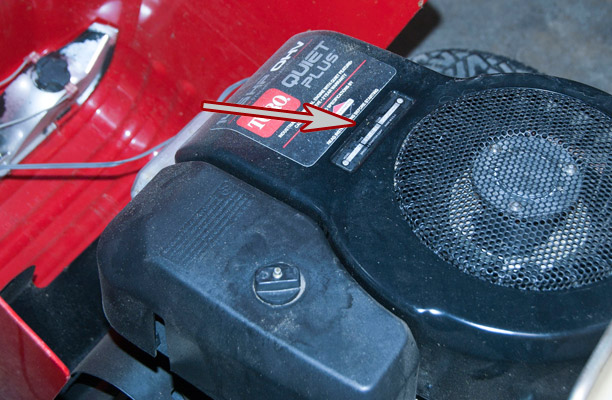 Briggs & Stratton Model, Type and Code Location on a Wheel Horse 14-38HXL Riding Mower