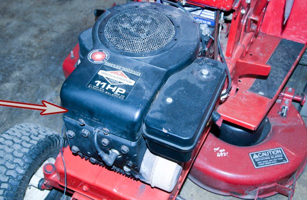 Briggs & Stratton Model, Type and Code Location on a Wheel Horse Riding Mower