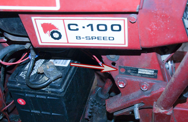 Wheel Horse C100 Tractor Model and Serial Number Location